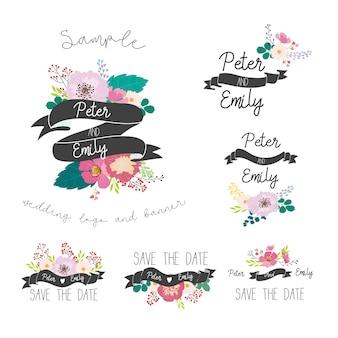 Amore gli elementi grafici floreali nozze