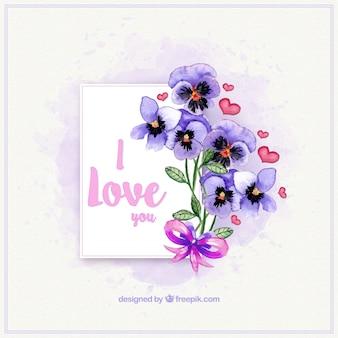 Amore scheda con mazzo di fiori ad acquerello