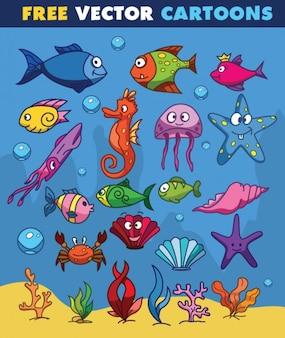 Animali di acqua a disegno del fumetto