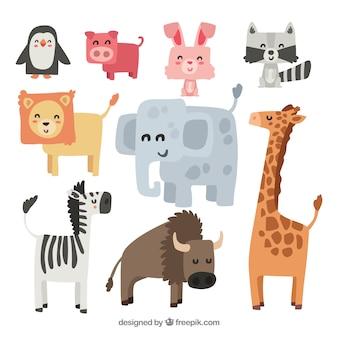 Animali di smiley con disegno piatto
