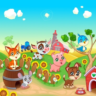 Animali divertenti della fattoria