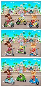 Animali domestici divertenti sono a cavallo biciclette scooter e giocattoli scooter in città illustrazione vettoriale lo sfondo può ripetere senza soluzione di continuità