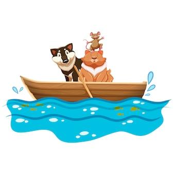 Animali in un disegno della barca