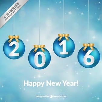 Anno nuovo sfondo con appesi palle di Natale blu