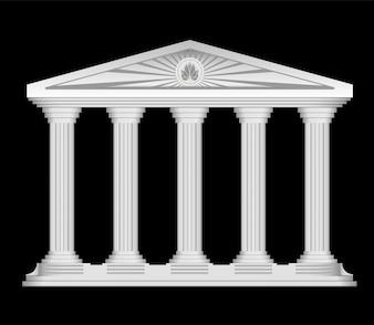 Antique Roman tempio stilizzato vector background