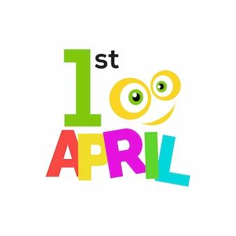 April Fools Day tipografia scritta su sfondo whtie per biglietto di auguri manifesto promozione articolo di marketing e-mail segnaletica vettore