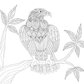 Aquila su uno sfondo di ramo