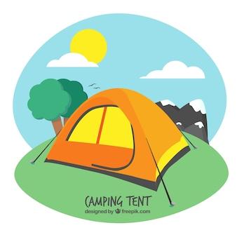 Arancione tenda da campeggio in un paesaggio 840 7 da 1 anni