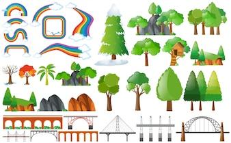 Arcobaleni, alberi e elementi di design