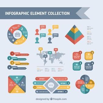 Assortimento di elementi infographic colorati