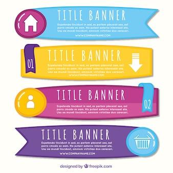 Assortimento di striscioni colorati infographic in stile disegnato a mano