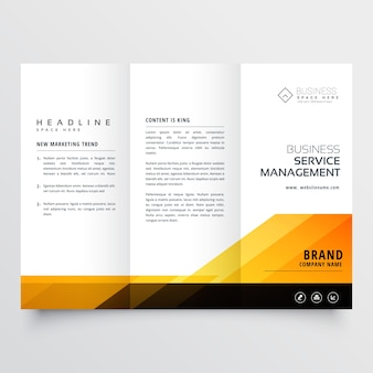 Astratto arancio e nero tri fold progettazione brochure corporate business template