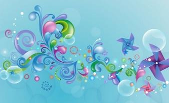 Astratto disegno colorato su sfondo blu grafica vettoriale