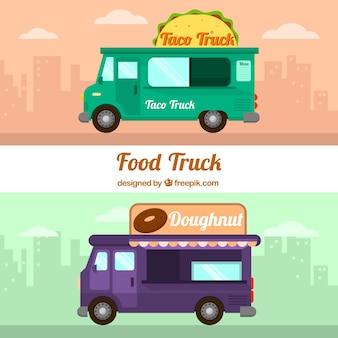 Autocarri alimentari moderni con design piatto
