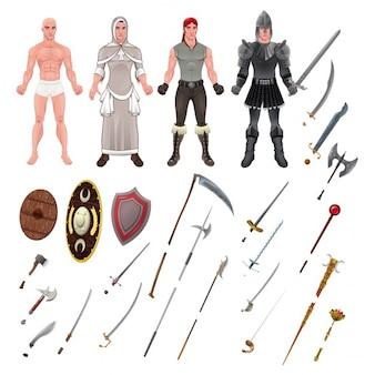 Avatar medievale con armi e armature Oggetti isolati illustratore vettoriale