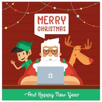 Babbo Natale con Elf e cervi