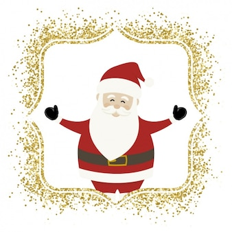 Babbo Natale con una cornice dorata