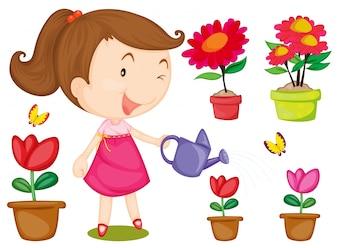 Bambina che innaffia i fiori