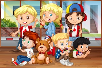 Bambini che appendono nell'illustrazione della stanza
