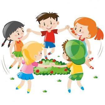 Bambini che giocano disegno