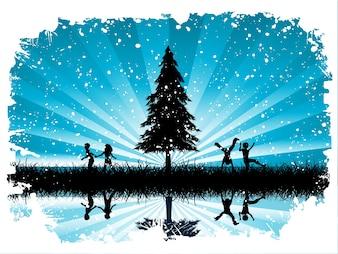 Bambini che giocano in neve