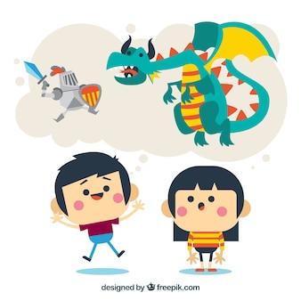 Bambini divertenti immaginare storie fantastiche