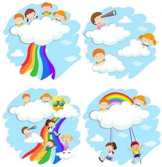 Bambini felici che giocano sulle nuvole e arcobaleno