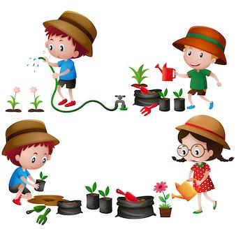 Bambini nel disegno del giardino
