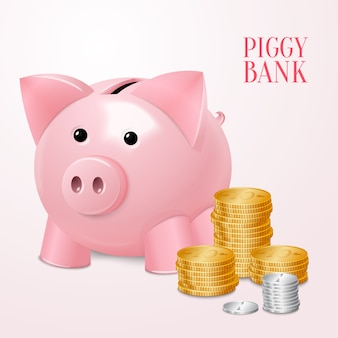 Banca Piggy con stampa di monete
