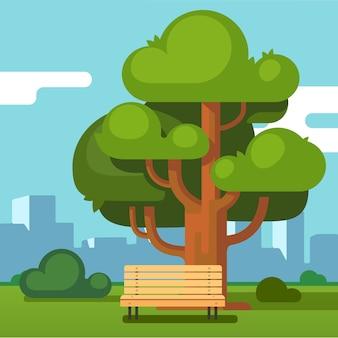 Banco del parco urbano sotto una quercia con paesaggio urbano