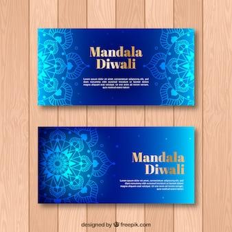 Bandiera mandala blu