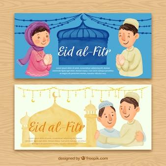 Bandiere acquerello Eid al fitr con persone