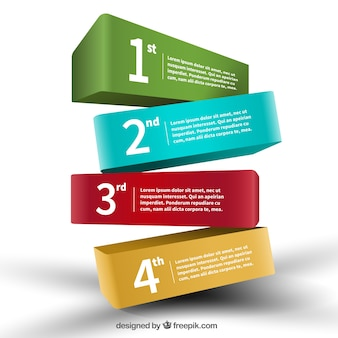 Bandiere colorate 3d infografica