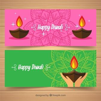 Bandiere Diwali con lampade a olio in design piatto