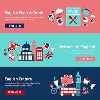Bandiere inglesi con oggetti tradizionali