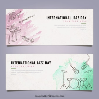 Banner acquerello con strumenti musicali di jazz