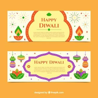 Banner decorativi diwali felici