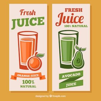 Banner fantastici con avocado e succhi d'arancia