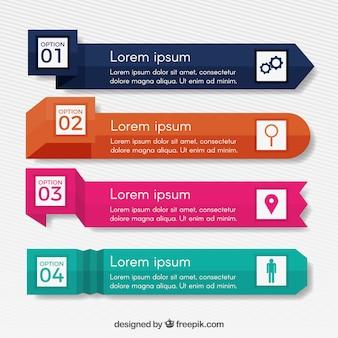 Banner infografici con una varietà di disegni
