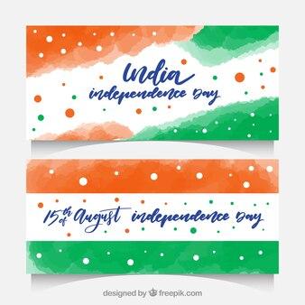 Banner per l'indipendenza dell'acquerello india