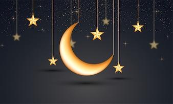 Banner scuro con stelle dorate e la luna