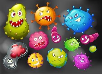 Batteri e germi su sfondo nero