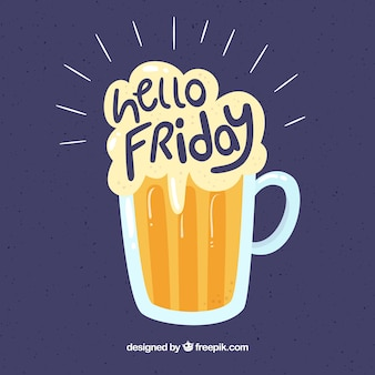 "Beer sfondo e testo ""hello friday"""