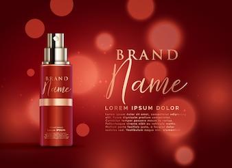 Bel design rosso modello di cosmetici di visualizzazione del prodotto con effetto bokeh