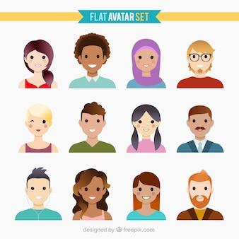 Bella collezione avatar piatta
