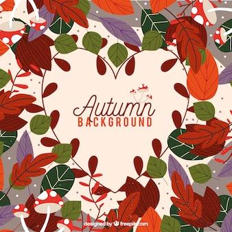 Bella composizione con foglie di autunno