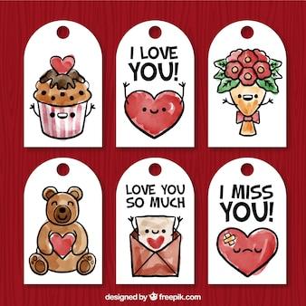 Bella confezione di sei etichette di San Valentino in stile acquerello