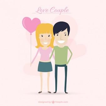 Bella coppia con un cuore a forma di fumetto