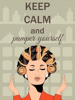 Bella illustrazione fumetto con il messaggio di mantenere la calma e coccolarsi