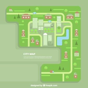 Bella mappa della città in design piatto